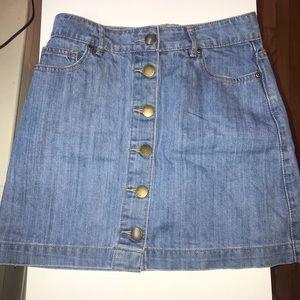 Denim Button Front Skirt Forever 21